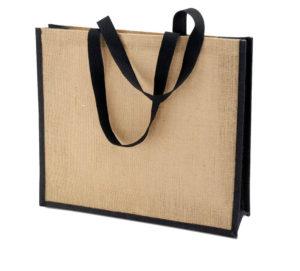 Холщовая сумка для покупок Bagari с черной отделкой