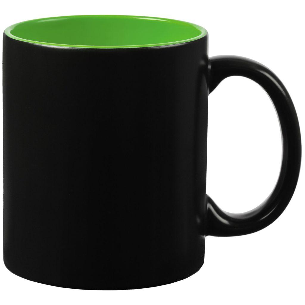 Кружка-хамелеон, матовая, черная, внутри цветная