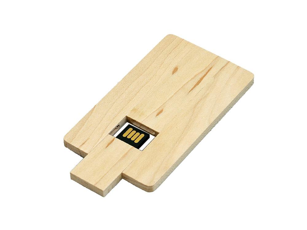 USB-флешка в виде деревянной карточки с выдвижным механизмом